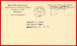 1946 Issue Announcement (front)