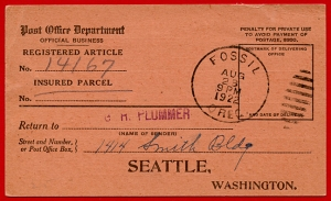 Return Receipt Card used in Fossil, Oregon