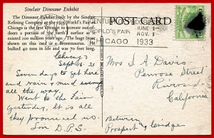 Sinclair Post Card Used from Century of Progress Exposition