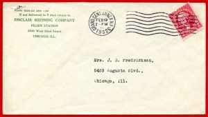 Sinclair Refining Co. Perfin on Cover